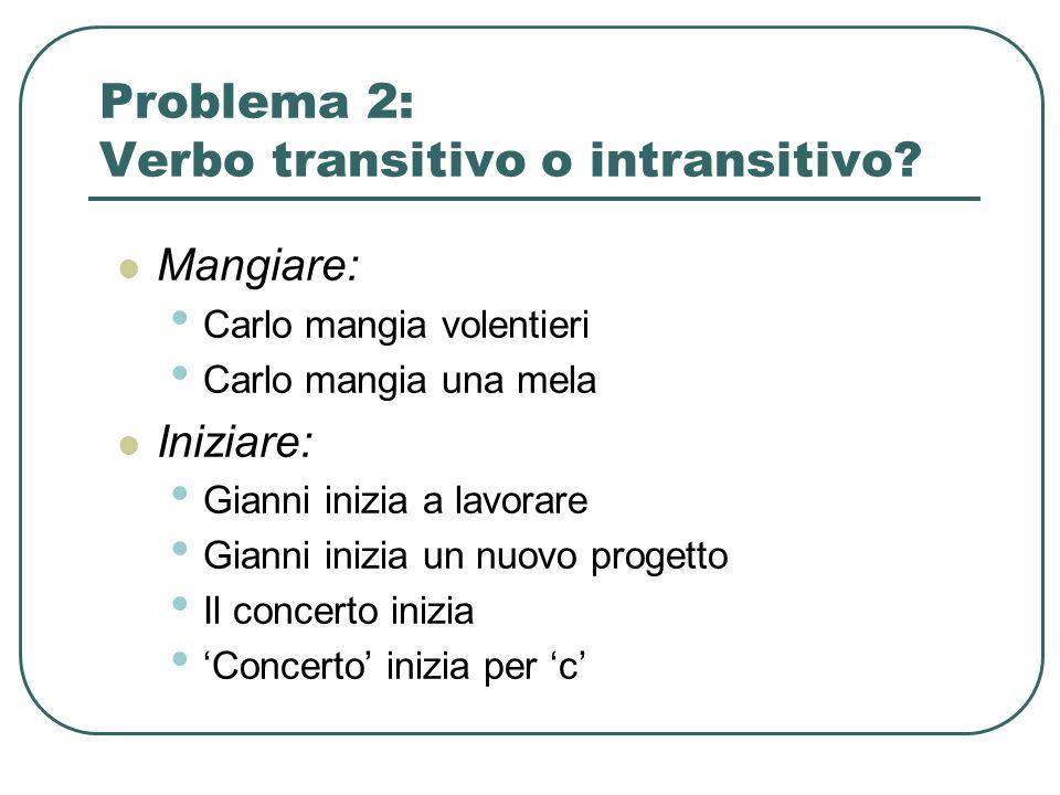 Problema 2: Verbo transitivo o intransitivo