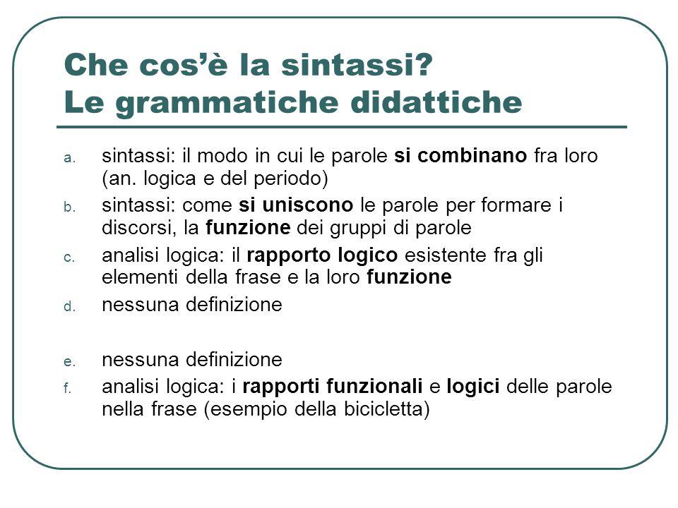 Che cos'è la sintassi Le grammatiche didattiche