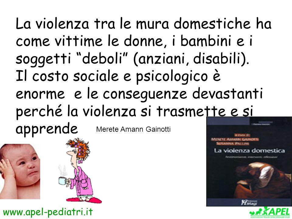 La violenza tra le mura domestiche ha come vittime le donne, i bambini e i soggetti deboli (anziani, disabili).
