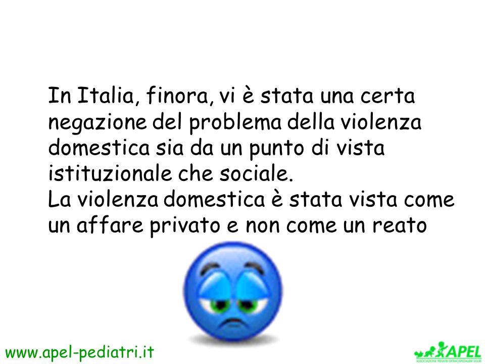 In Italia, finora, vi è stata una certa negazione del problema della violenza domestica sia da un punto di vista istituzionale che sociale.