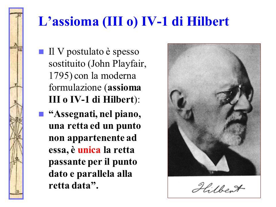 L'assioma (III o) IV-1 di Hilbert