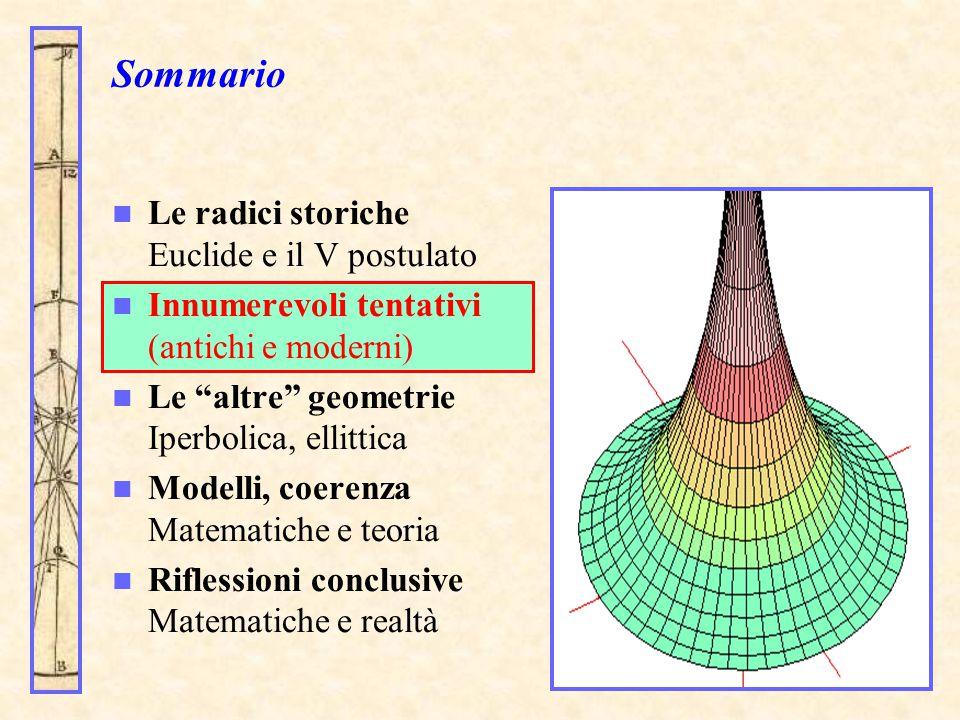 Sommario Le radici storiche Euclide e il V postulato