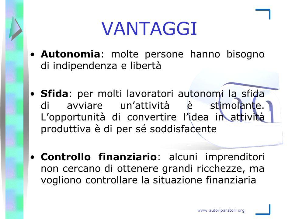 VANTAGGI Autonomia: molte persone hanno bisogno di indipendenza e libertà.