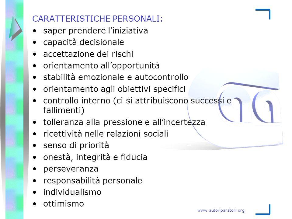 CARATTERISTICHE PERSONALI: