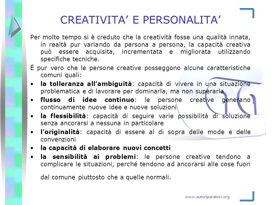 CREATIVITA' E PERSONALITA'