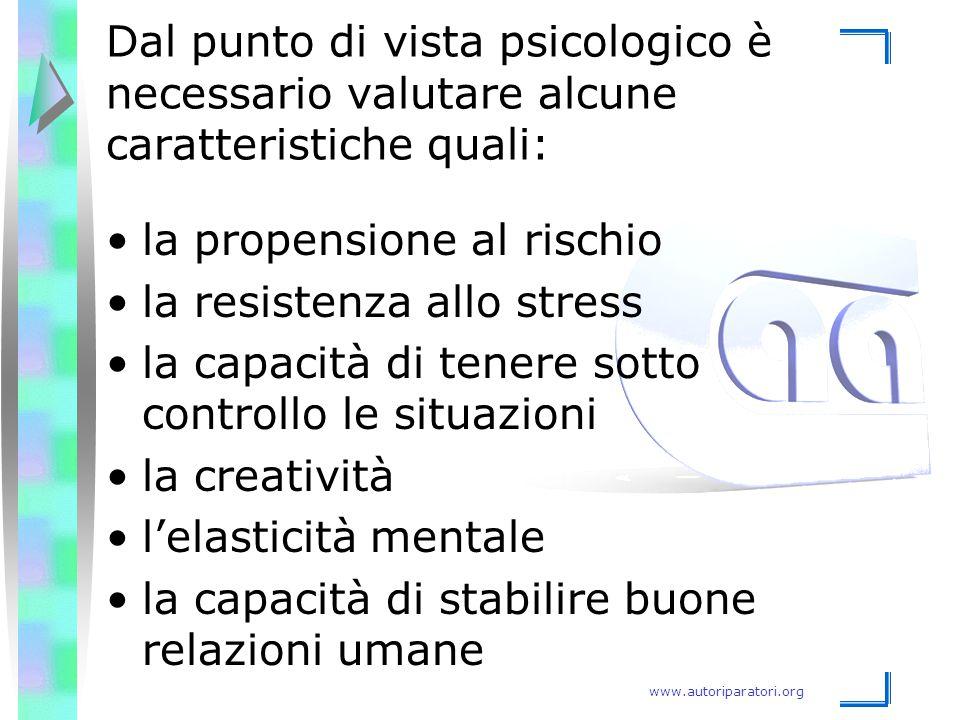 Dal punto di vista psicologico è necessario valutare alcune caratteristiche quali: