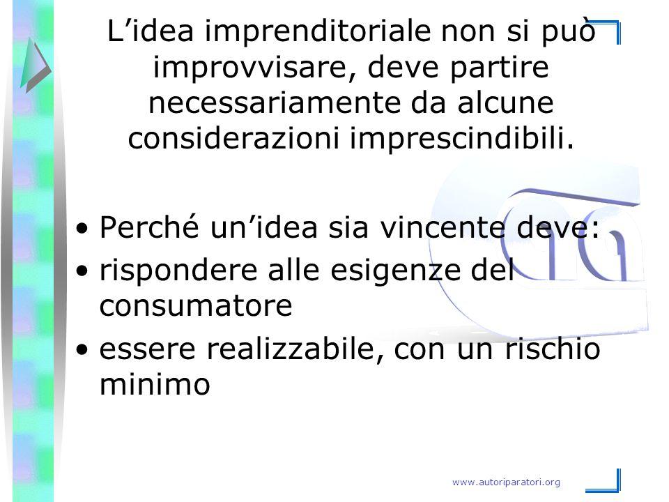 L'idea imprenditoriale non si può improvvisare, deve partire necessariamente da alcune considerazioni imprescindibili.