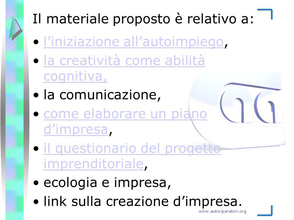 Il materiale proposto è relativo a:
