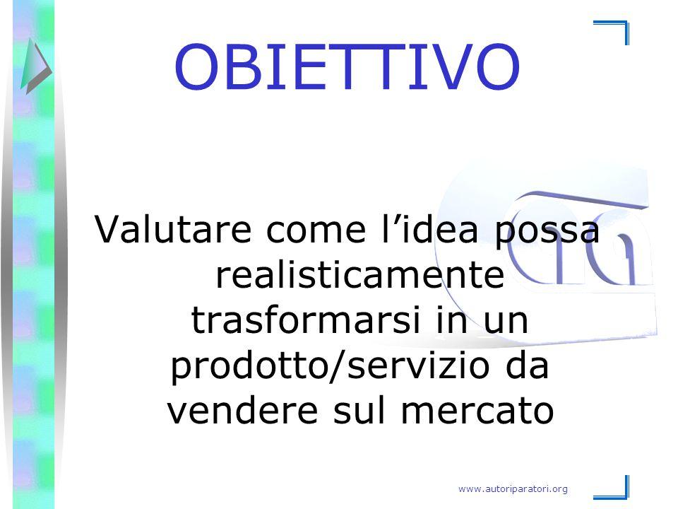 OBIETTIVO Valutare come l'idea possa realisticamente trasformarsi in un prodotto/servizio da vendere sul mercato.