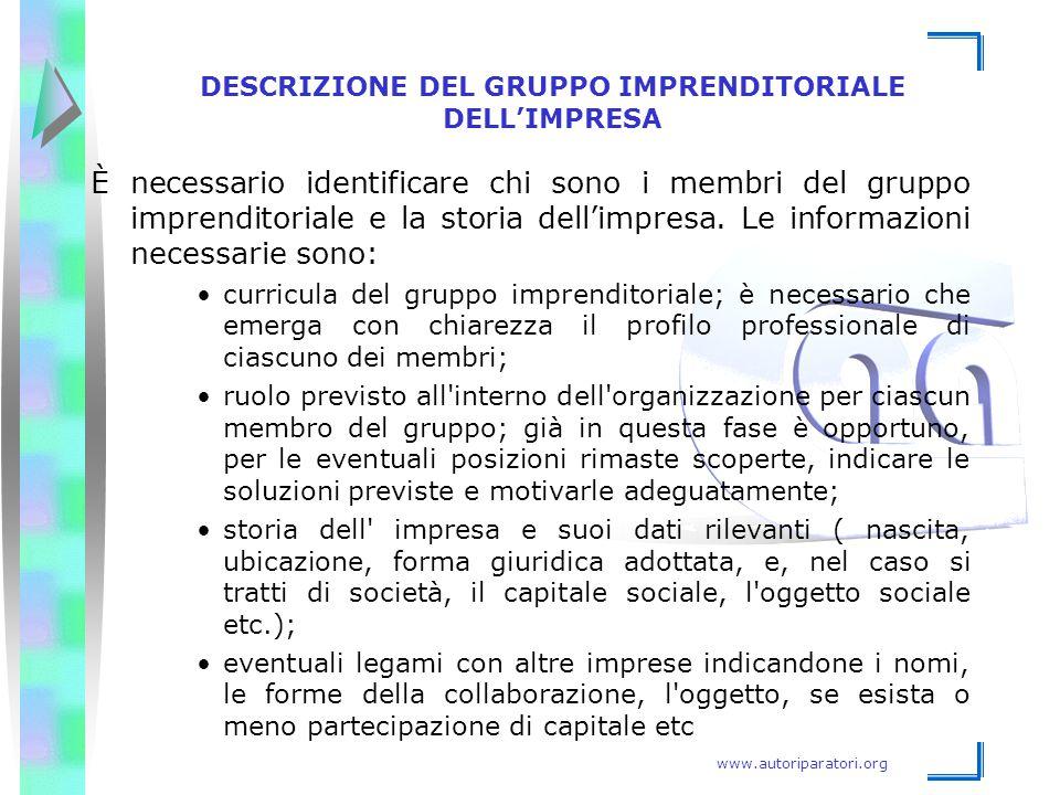 DESCRIZIONE DEL GRUPPO IMPRENDITORIALE DELL'IMPRESA