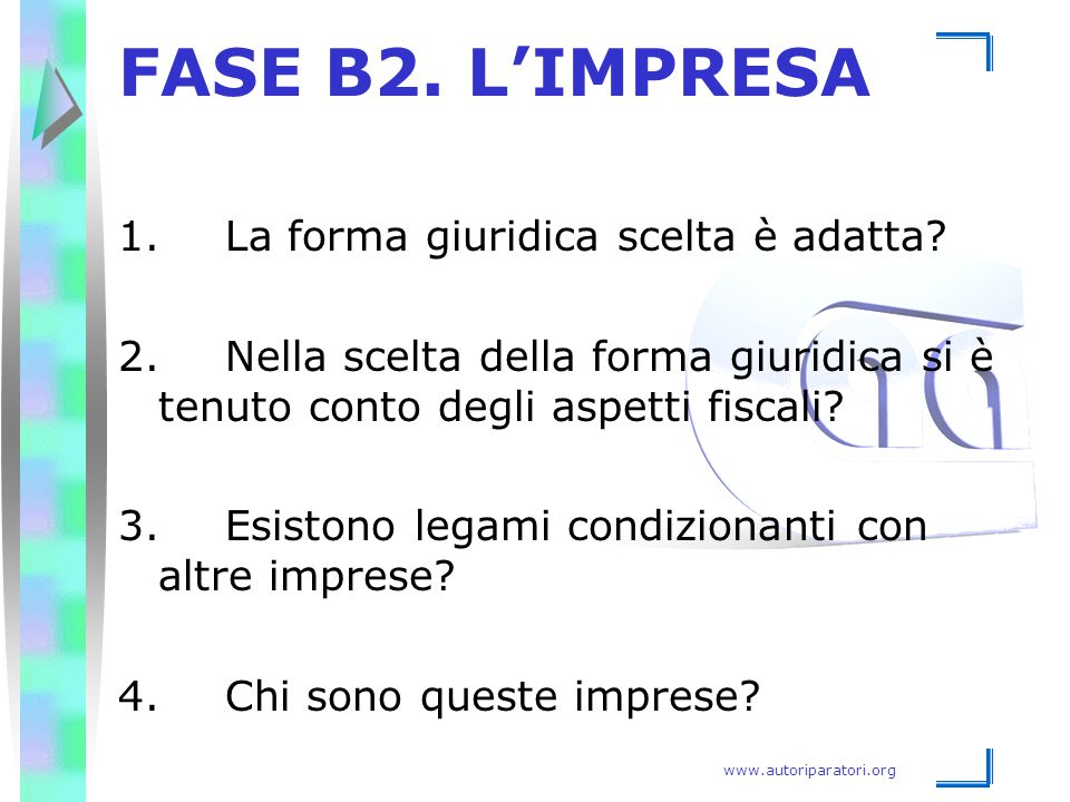 FASE B2. L'IMPRESA 1. La forma giuridica scelta è adatta