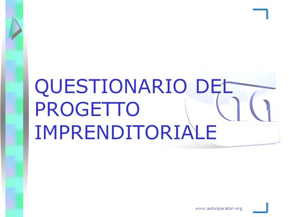QUESTIONARIO DEL PROGETTO IMPRENDITORIALE
