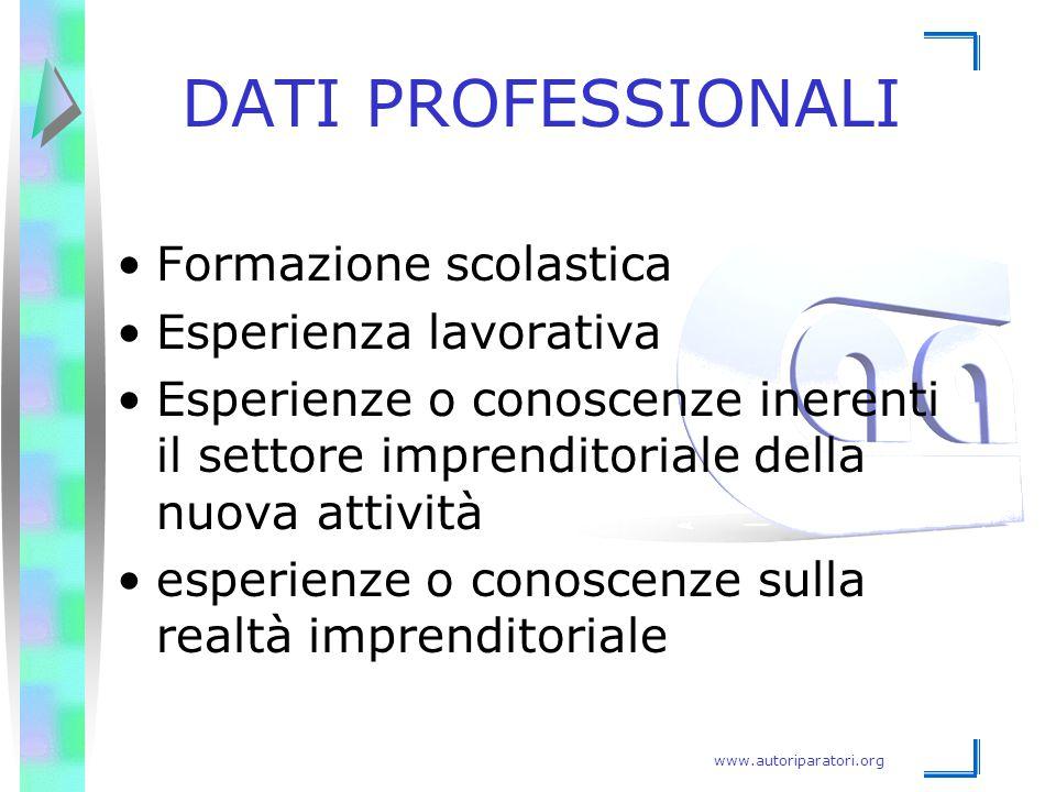 DATI PROFESSIONALI Formazione scolastica Esperienza lavorativa