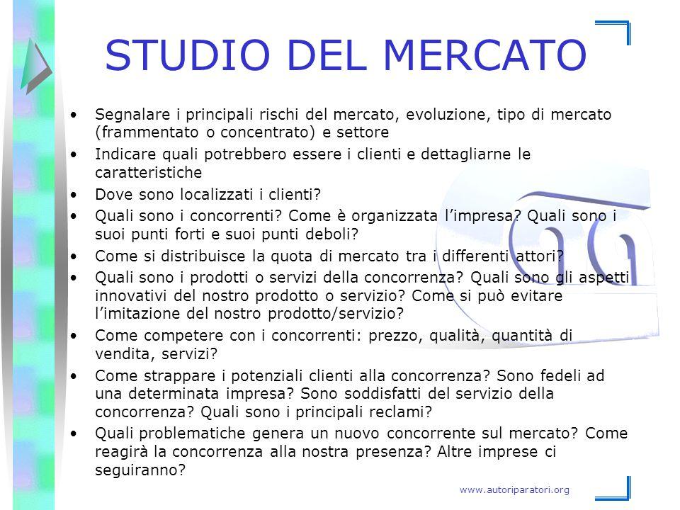 STUDIO DEL MERCATO Segnalare i principali rischi del mercato, evoluzione, tipo di mercato (frammentato o concentrato) e settore.