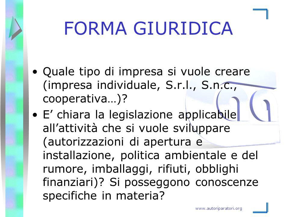 FORMA GIURIDICA Quale tipo di impresa si vuole creare (impresa individuale, S.r.l., S.n.c., cooperativa…)