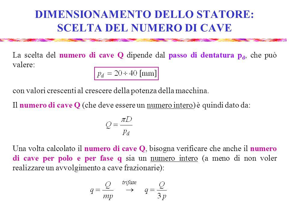 DIMENSIONAMENTO DELLO STATORE: SCELTA DEL NUMERO DI CAVE