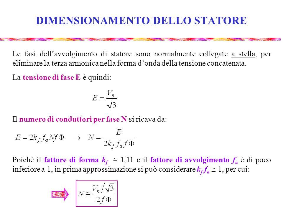 DIMENSIONAMENTO DELLO STATORE