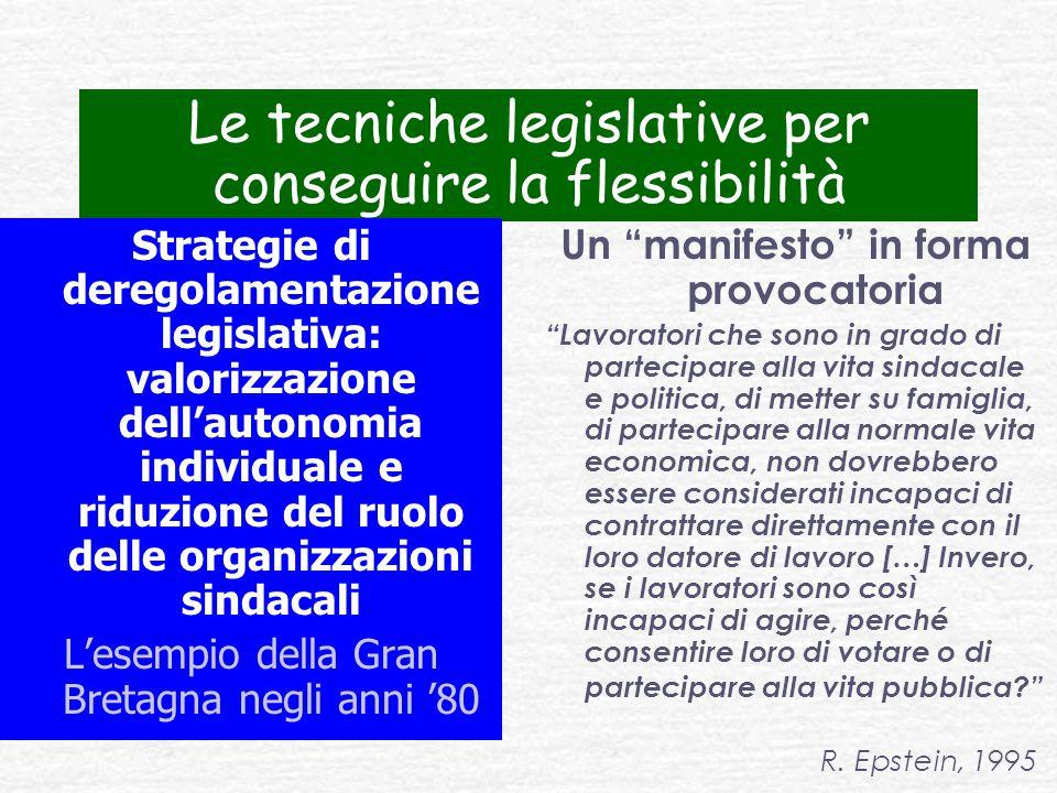 Le tecniche legislative per conseguire la flessibilità