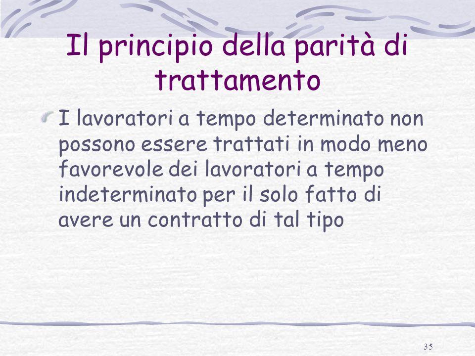 Il principio della parità di trattamento