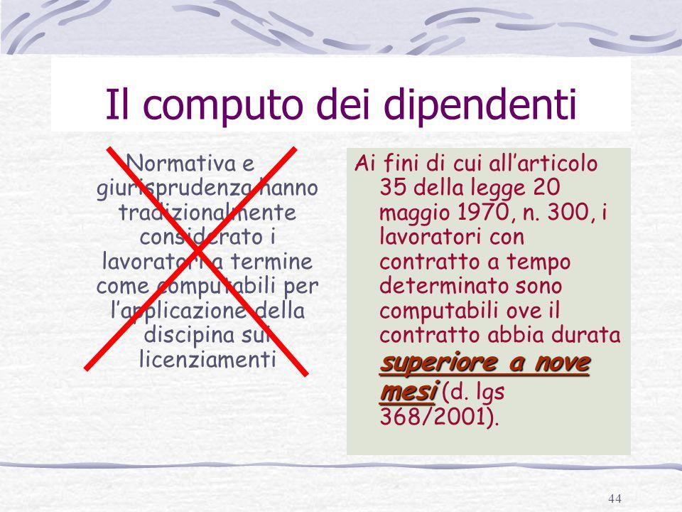 Il computo dei dipendenti