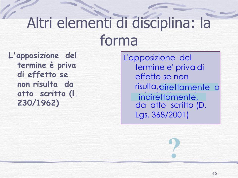 Altri elementi di disciplina: la forma