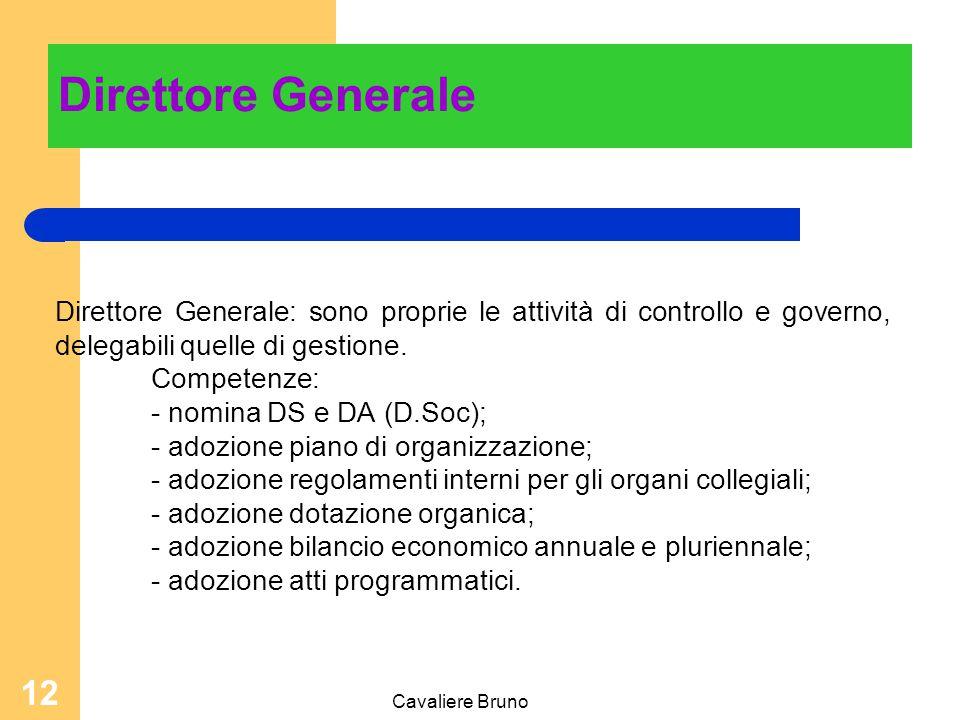 Direttore Generale Direttore Generale: sono proprie le attività di controllo e governo, delegabili quelle di gestione.