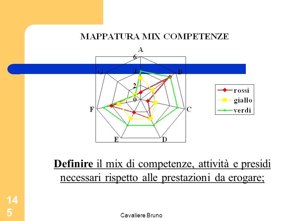 Definire il mix di competenze, attività e presidi necessari rispetto alle prestazioni da erogare;
