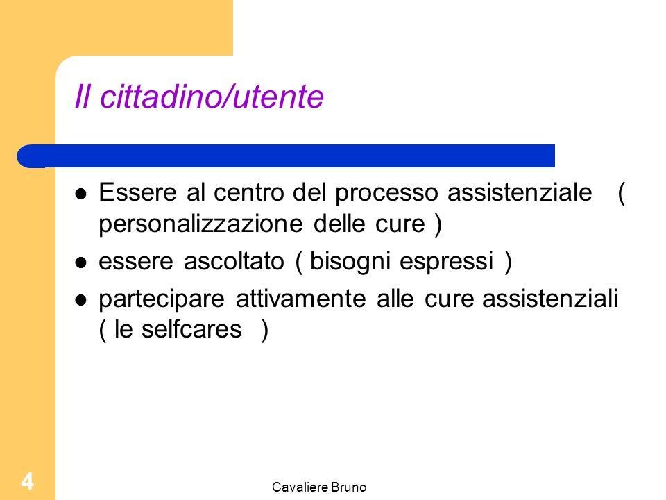 Il cittadino/utente Essere al centro del processo assistenziale ( personalizzazione delle cure ) essere ascoltato ( bisogni espressi )