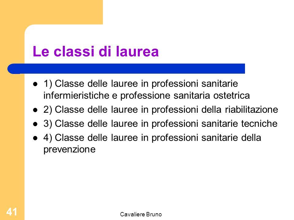 Le classi di laurea 1) Classe delle lauree in professioni sanitarie infermieristiche e professione sanitaria ostetrica.