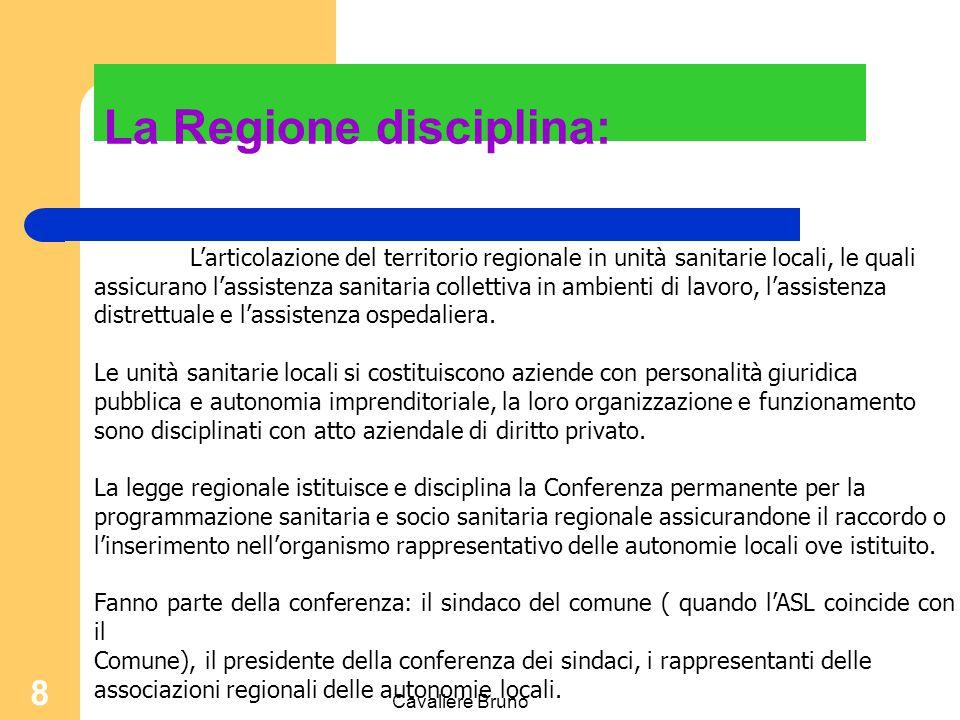 La Regione disciplina: