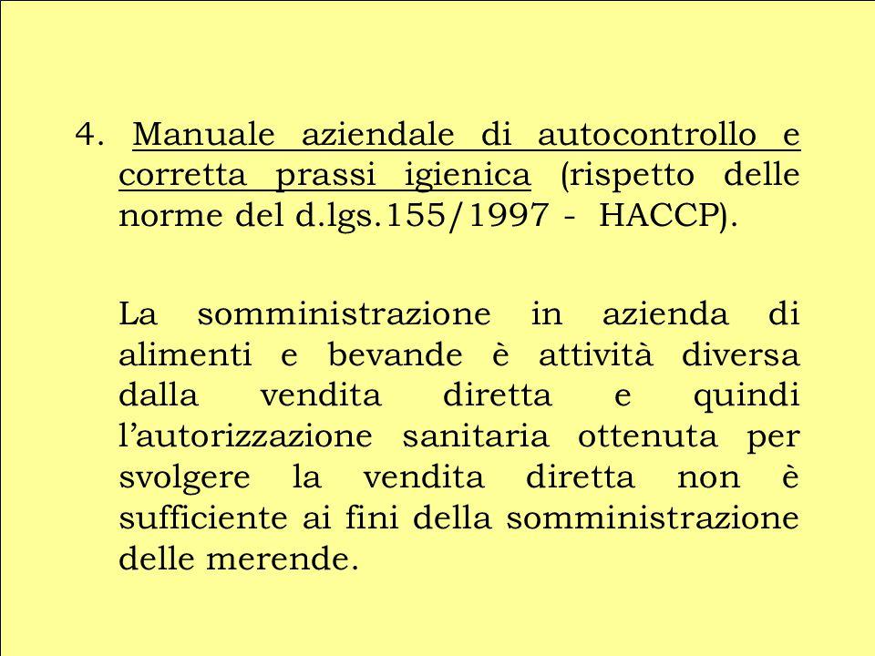 4. Manuale aziendale di autocontrollo e corretta prassi igienica (rispetto delle norme del d.lgs.155/1997 - HACCP).