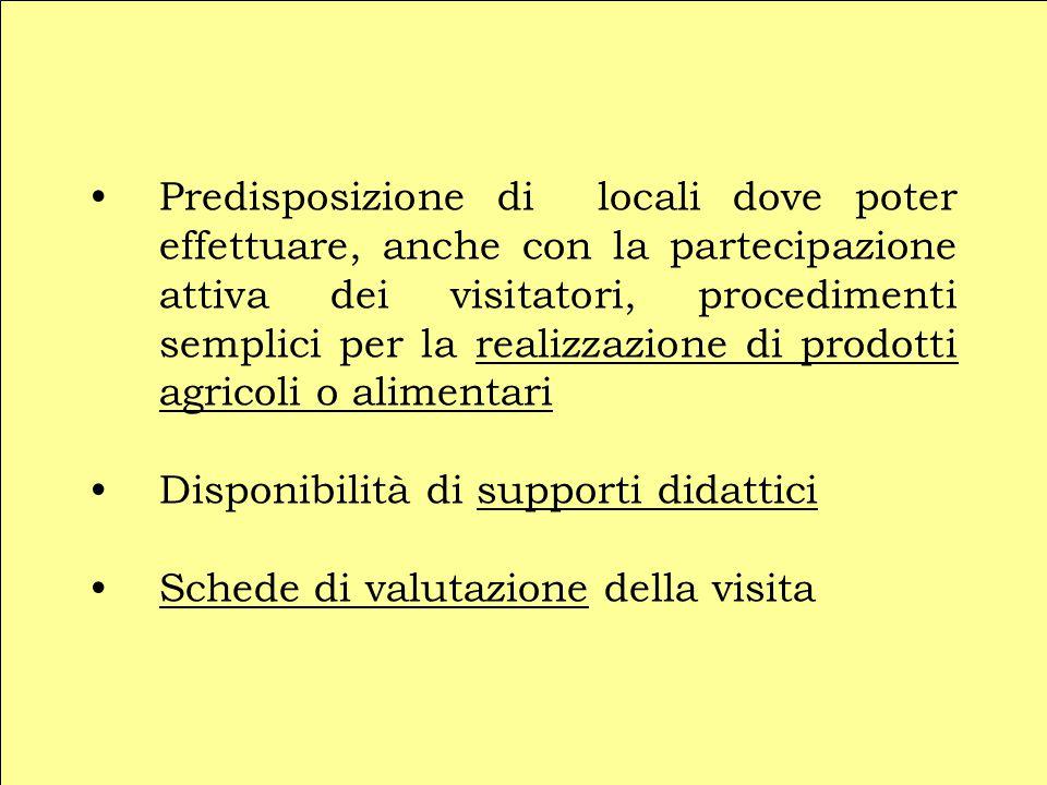 Predisposizione di locali dove poter effettuare, anche con la partecipazione attiva dei visitatori, procedimenti semplici per la realizzazione di prodotti agricoli o alimentari