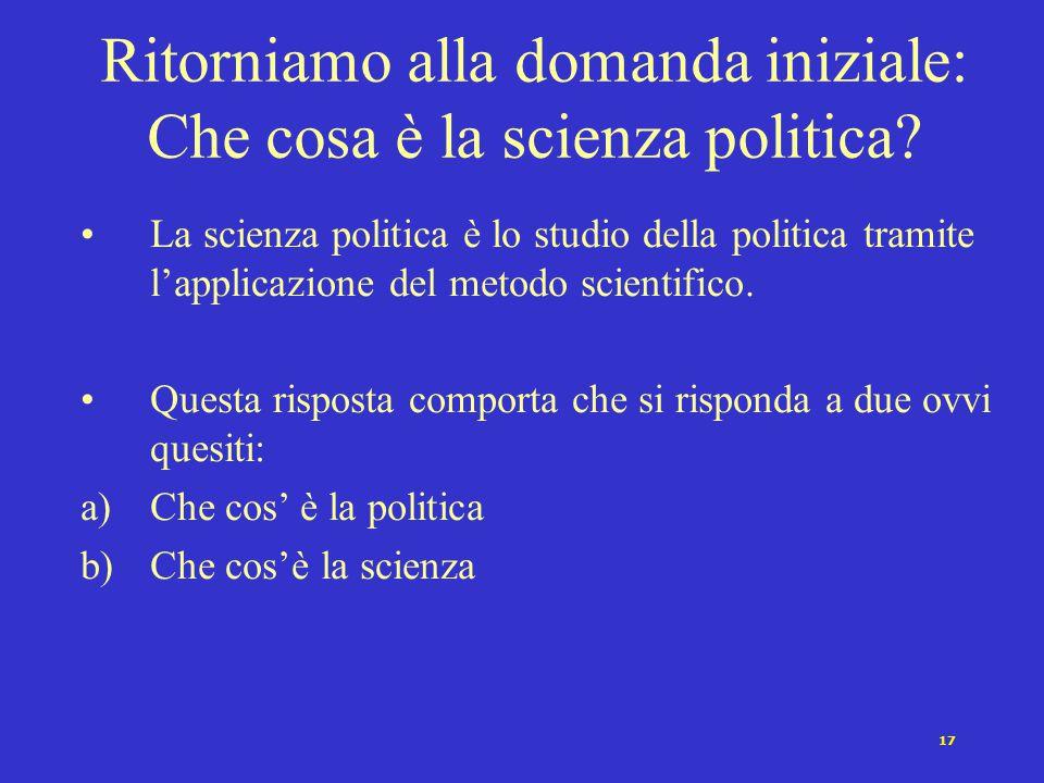 Ritorniamo alla domanda iniziale: Che cosa è la scienza politica