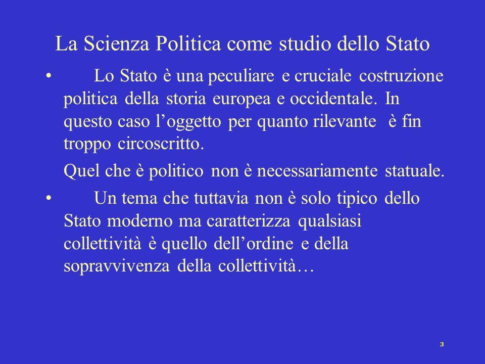 La Scienza Politica come studio dello Stato
