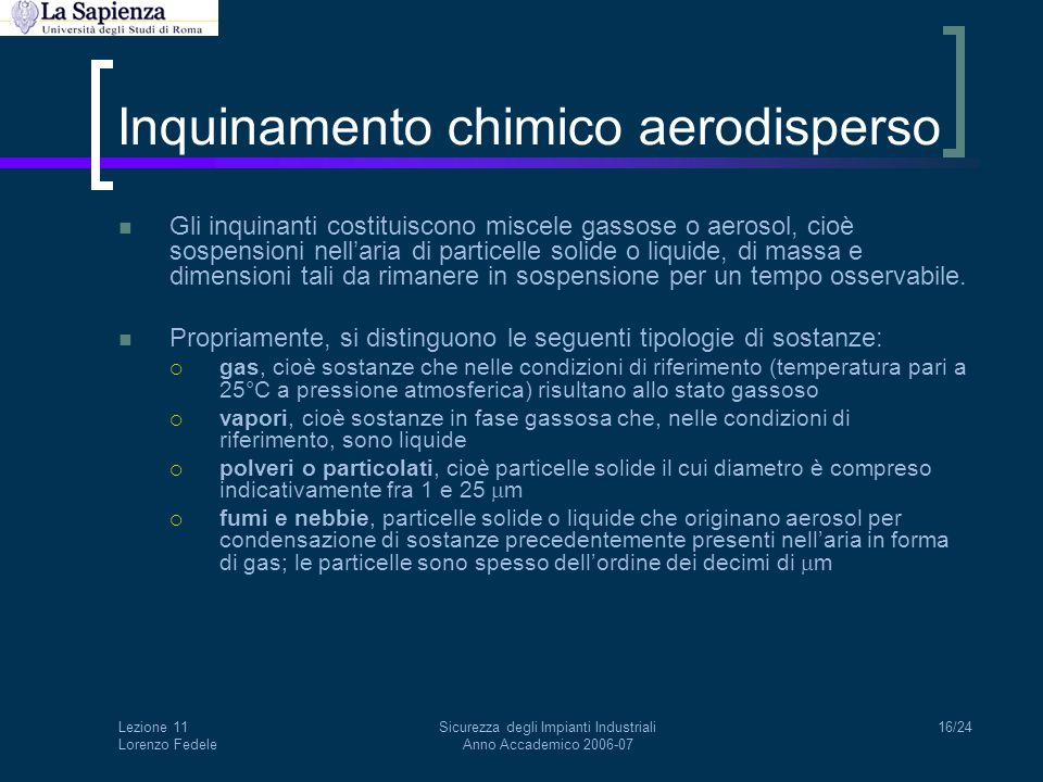Inquinamento chimico aerodisperso