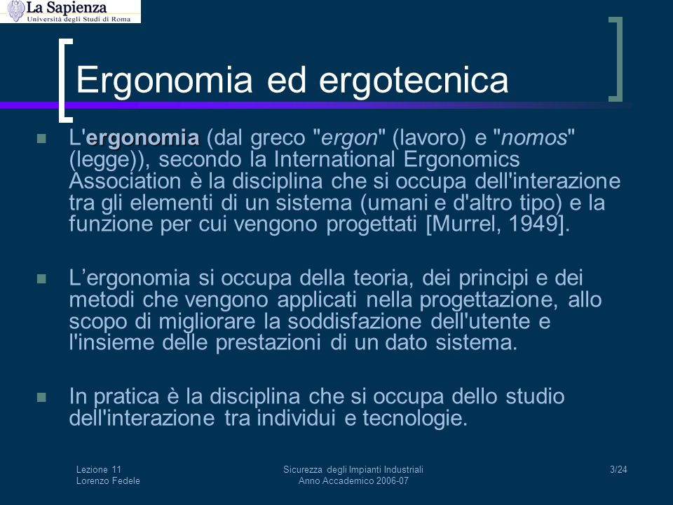 Ergonomia ed ergotecnica