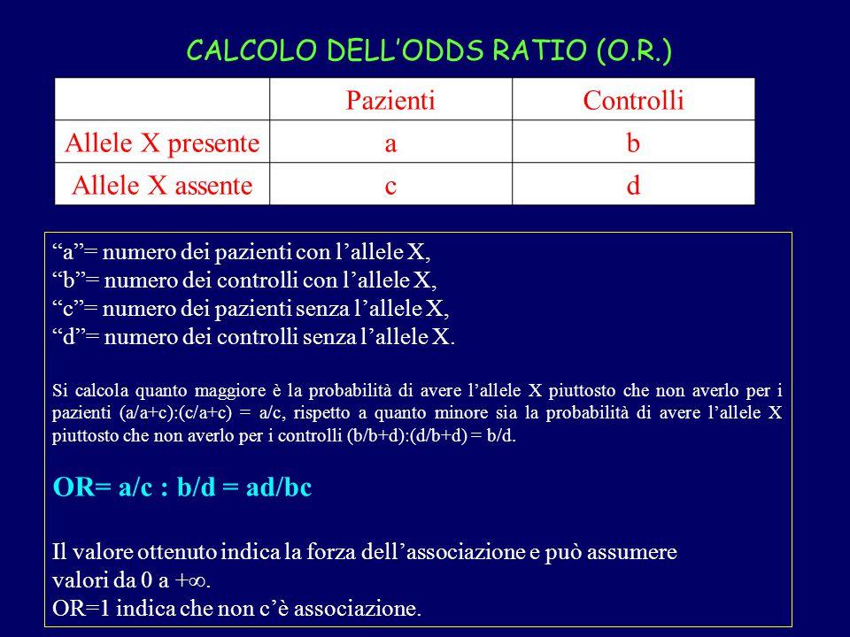 CALCOLO DELL'ODDS RATIO (O.R.) Pazienti Controlli Allele X presente a
