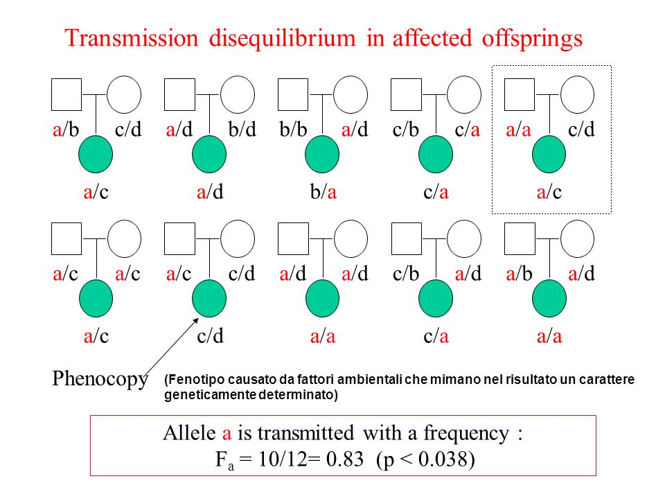Transmission disequilibrium in affected offsprings