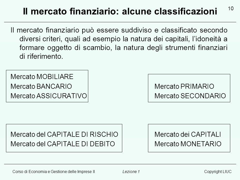 Il mercato finanziario: alcune classificazioni