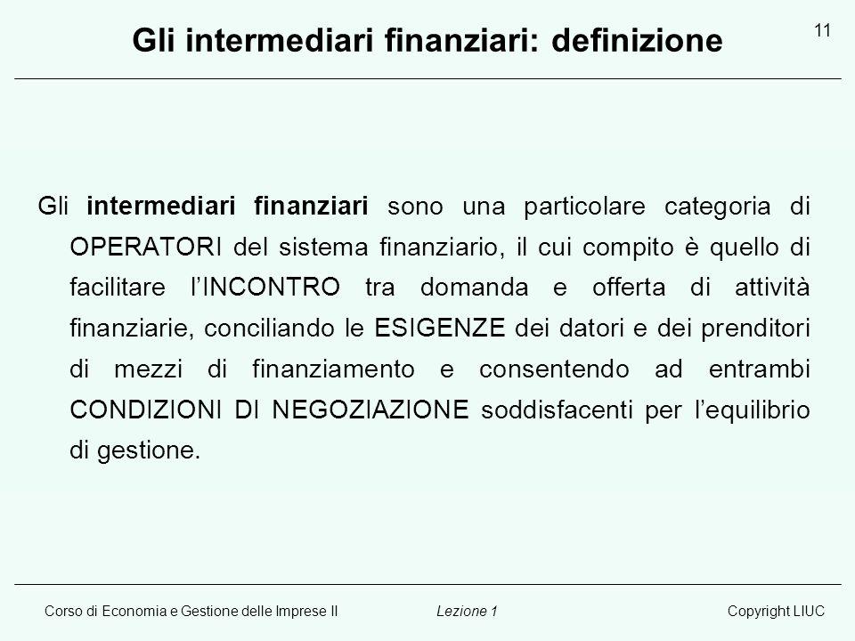 Gli intermediari finanziari: definizione