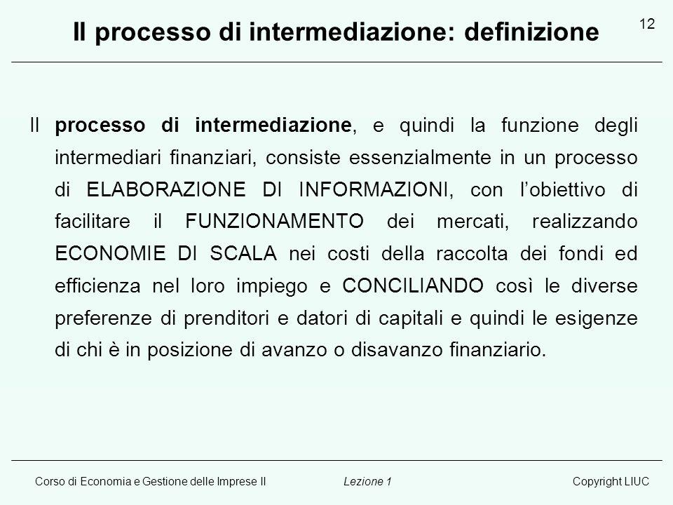 Il processo di intermediazione: definizione
