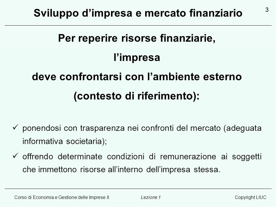 Sviluppo d'impresa e mercato finanziario