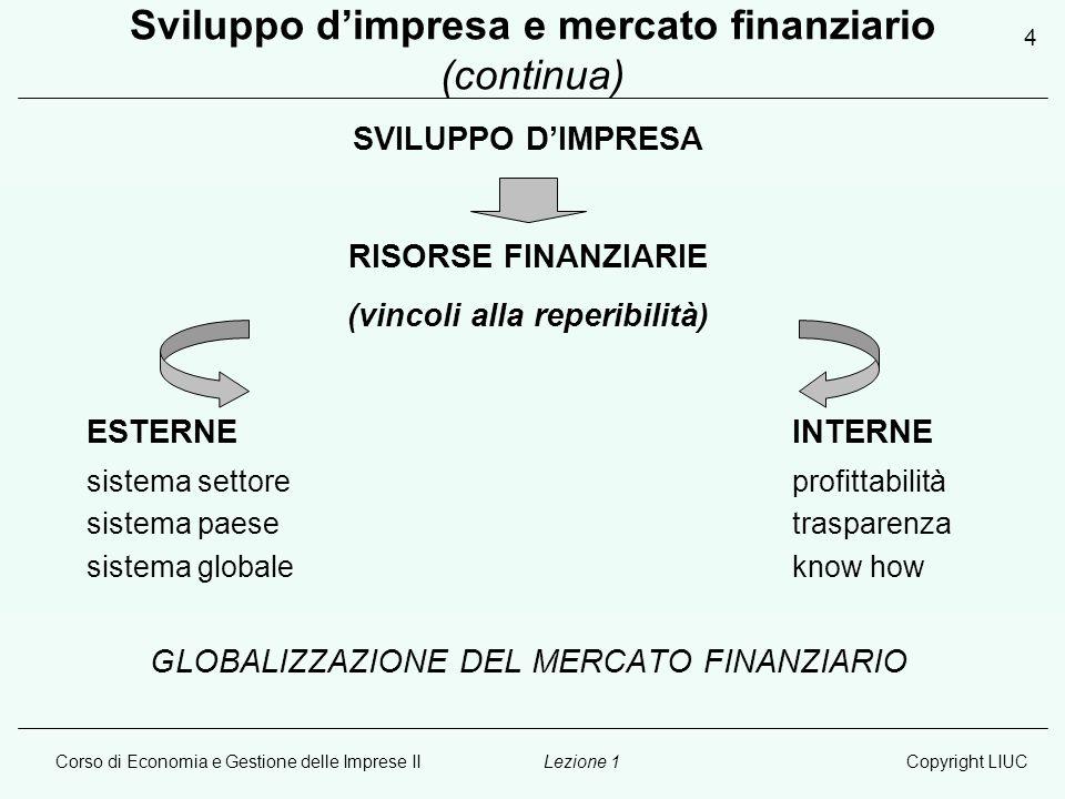 Sviluppo d'impresa e mercato finanziario (continua)