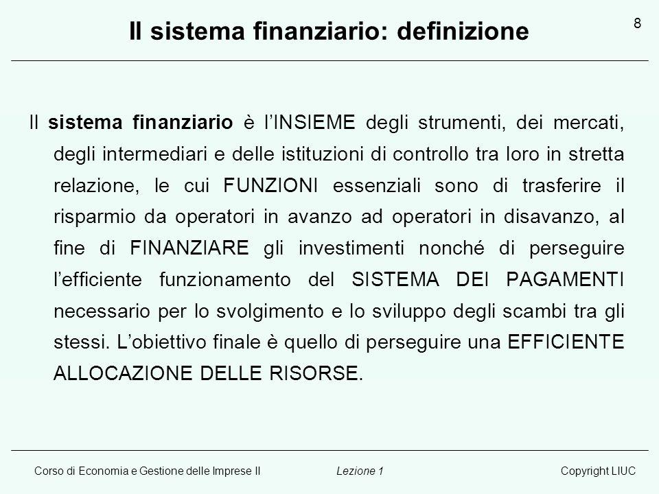 Il sistema finanziario: definizione