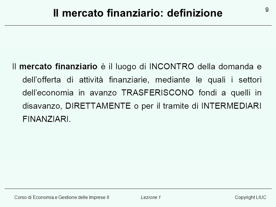 Il mercato finanziario: definizione