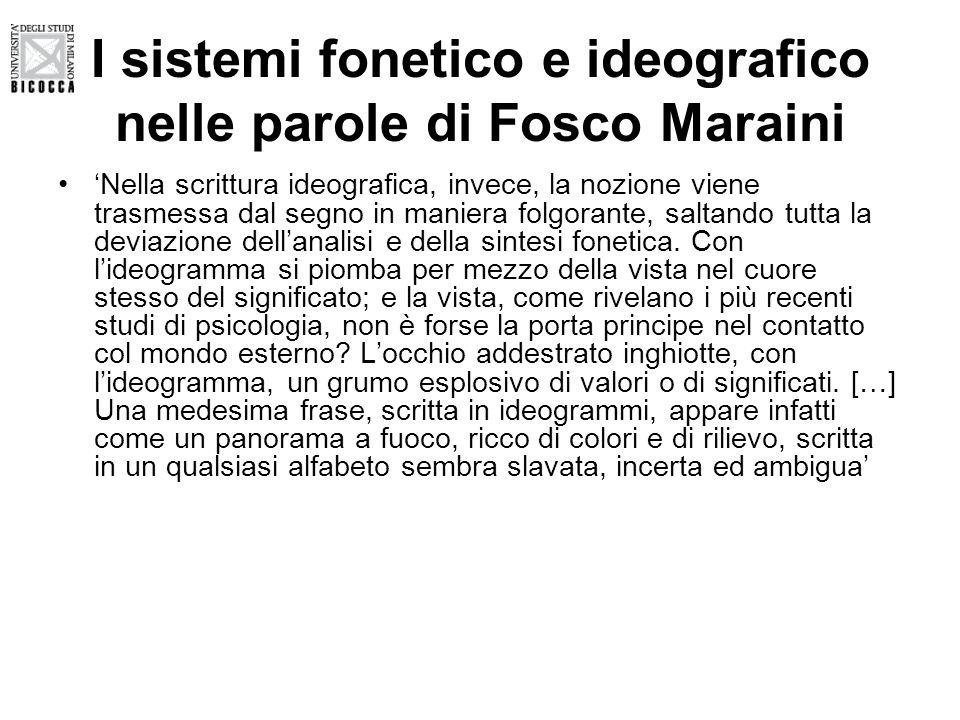 I sistemi fonetico e ideografico nelle parole di Fosco Maraini