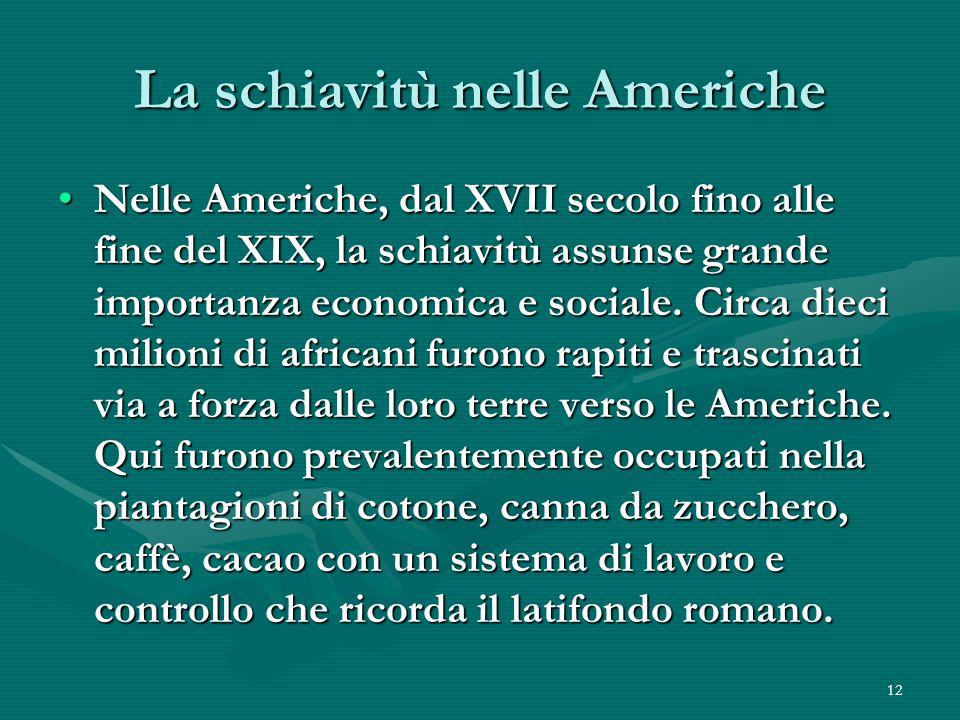 La schiavitù nelle Americhe