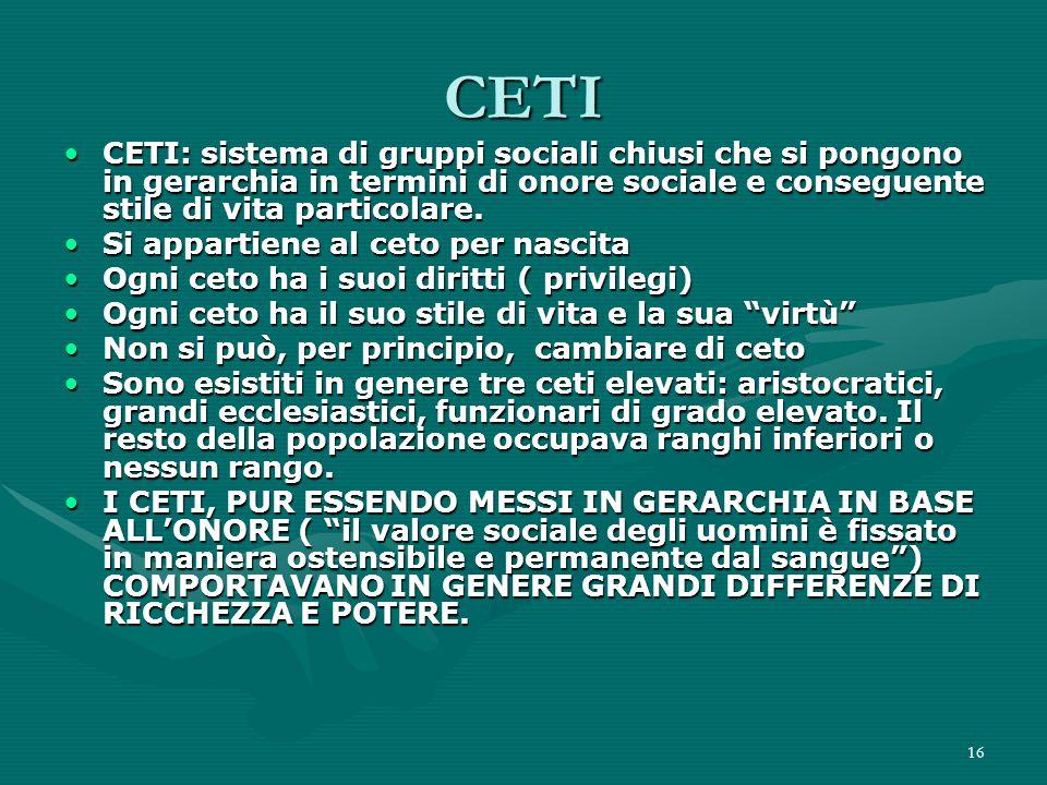 CETI CETI: sistema di gruppi sociali chiusi che si pongono in gerarchia in termini di onore sociale e conseguente stile di vita particolare.
