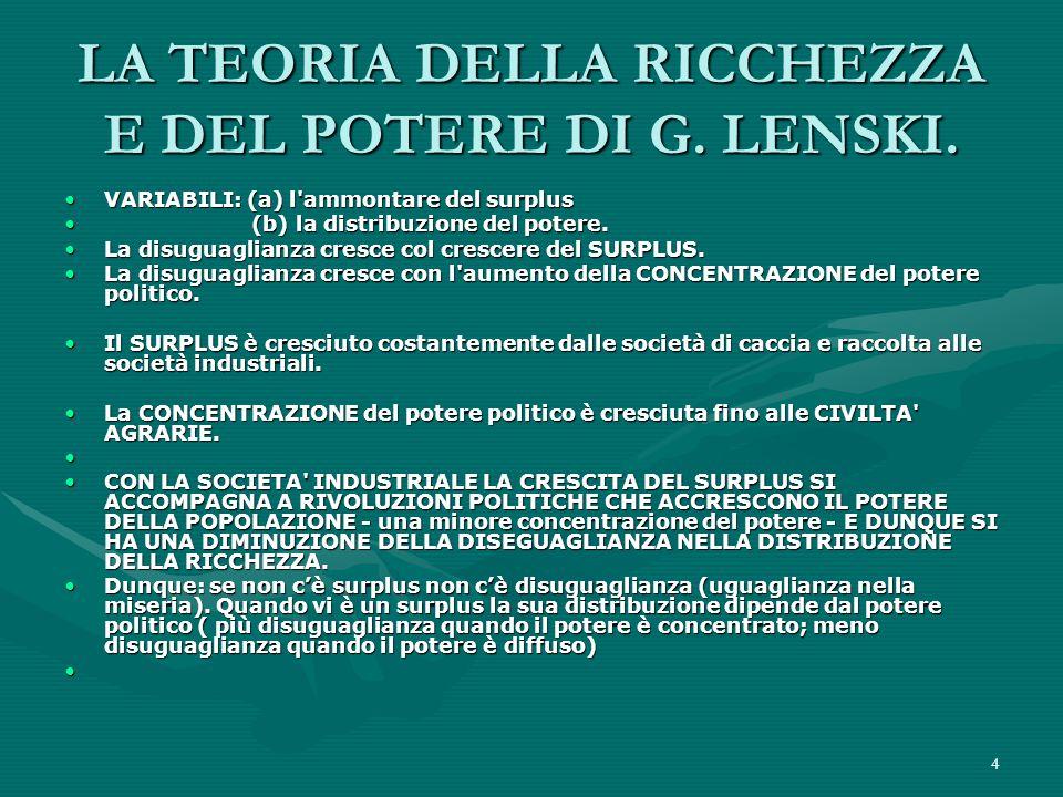 LA TEORIA DELLA RICCHEZZA E DEL POTERE DI G. LENSKI.
