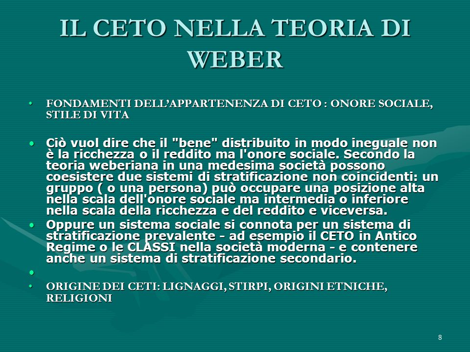 IL CETO NELLA TEORIA DI WEBER
